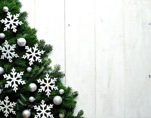 White snow flakes Christmas tree
