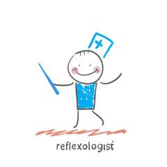 reflexologist with needle