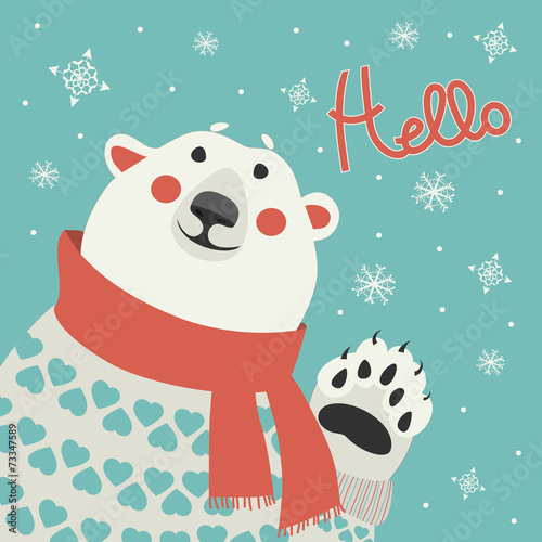 Fototapeta Polar bear says hello