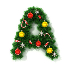 Christmas tree font letter A