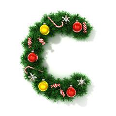 Christmas tree font letter C