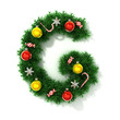 canvas print picture - Christmas tree font letter G