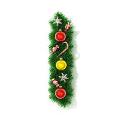 Christmas tree font letter I