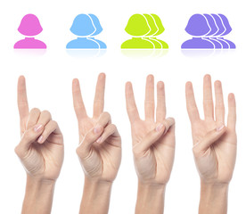 Female hand count one to four sign