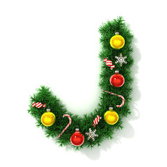Christmas tree font letter J