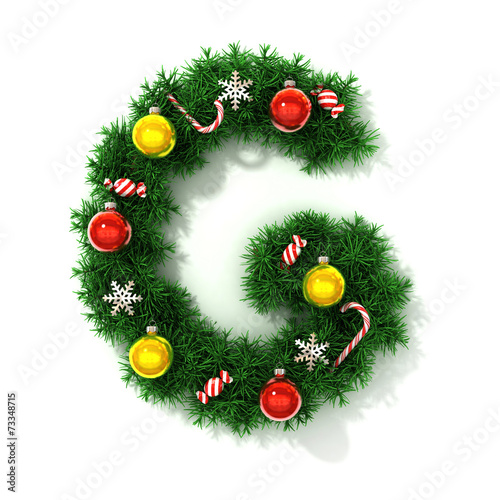 canvas print picture Christmas tree font letter G