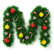 canvas print picture - Christmas tree font letter M