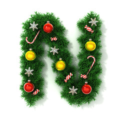 Christmas tree font letter N
