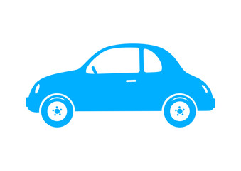 Blue car icon on white background