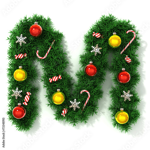 canvas print picture Christmas tree font letter M