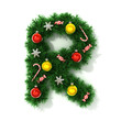 canvas print picture - Christmas tree font letter R