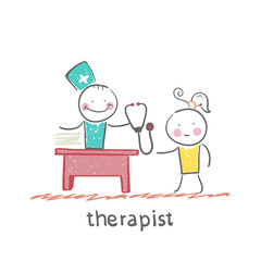 therapist at work talking to a patient