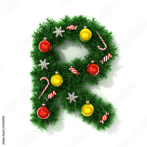 canvas print picture Christmas tree font letter R