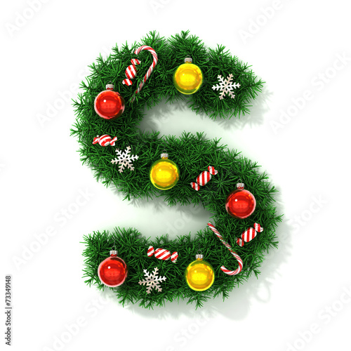 canvas print picture Christmas tree font letter S