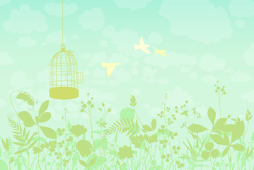 Spring landscape with a bird cage