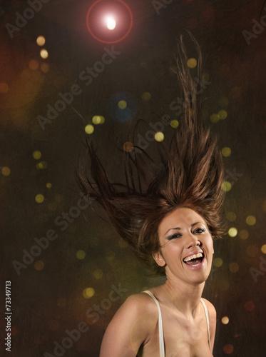 canvas print picture Partytänzerin mit wild fliegenden Haaren