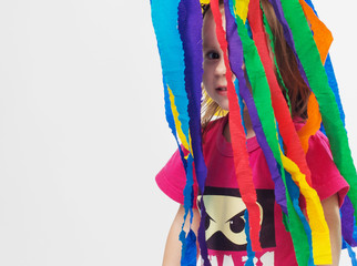 girl in colorful ribbons