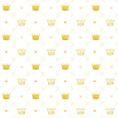 Simple seamless vector pattern with crown symbol art