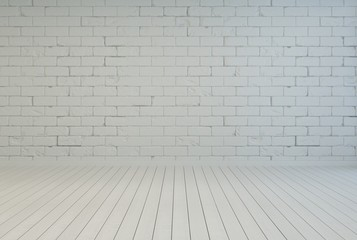 Empty room interior with white brick wall