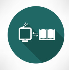 TV and book exchange icon