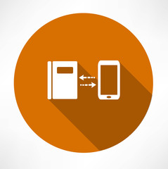 smartphone and notepad exchange icon