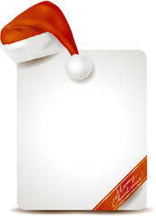 Christmas placard with Santa's Hat