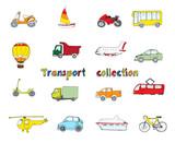 Transport doodle set colored