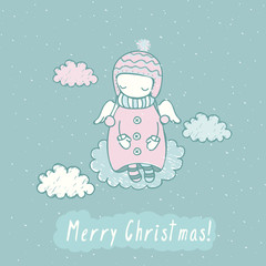 Christmas card with cute angel in sky in vector