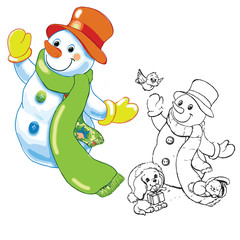 funny snowman and sketch. Happy ney year