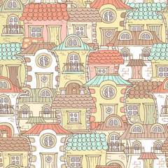 Vector pattern with cartoon, colorful houses