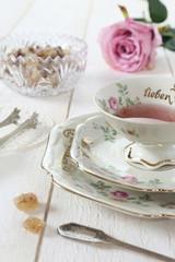 Romantic tea-drinking in Valentines Day