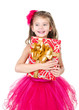 Happy adorable little girl with christmas gift box
