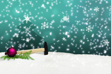 Hammer Hand Tool Snow Christmas Greeting