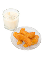 Soybean milk with fried bread stick isolated