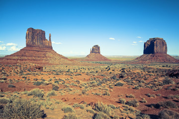 View of Monument valley under the blue sky