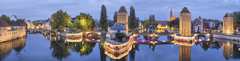 Evening panorama of Pont Couverts in Strasbourg