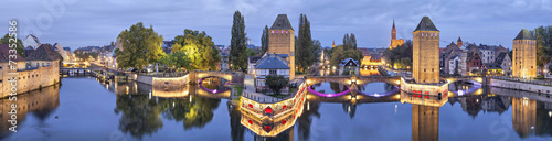Fotobehang Brug Evening panorama of Pont Couverts in Strasbourg