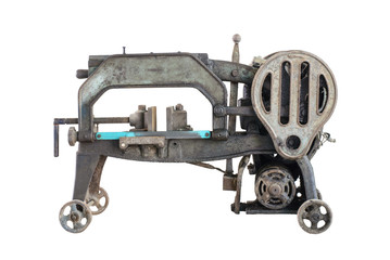 old dirty hacksaw machine industry tool. Isolated.