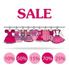 Vector illustration with sale of clothes for girls