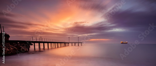 Fototapeta A stunning sea sunrise at The Black Sea coast