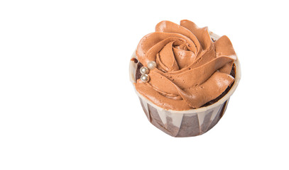 Moist chocolate cupcake over white background
