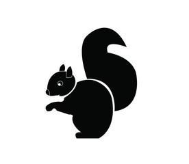 sitting squirrel black and white ,side view vector image isolate