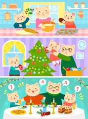 cartoon family of cats on Christmas