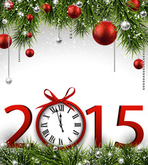 New year 2015 background with clock.