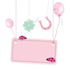 Balloons, horseshoe, clover, ladybird vector good luck card
