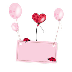 Pink flying baloon with place for text ladybird background