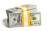 Bundles of 100 US dollars 2013 edition banknotes (bills) isolate