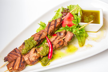 Skewered Meat with and sauce