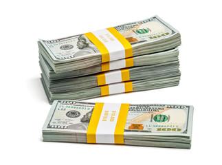 Bundles of 100 US dollars 2013 edition banknotes (bills) isolate