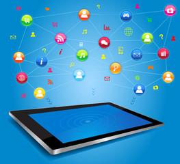Social network on digital tablet